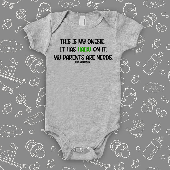 "The ""This Is My Onesie"" funny baby onesies in grey."