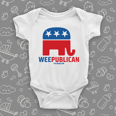 "White baby onesie saying ""Weepublican"" with an image of an elephant in the colors of the American flag."