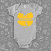 "Cool baby onesies with saying ""Wu-tang Is For The Children"" in grey."