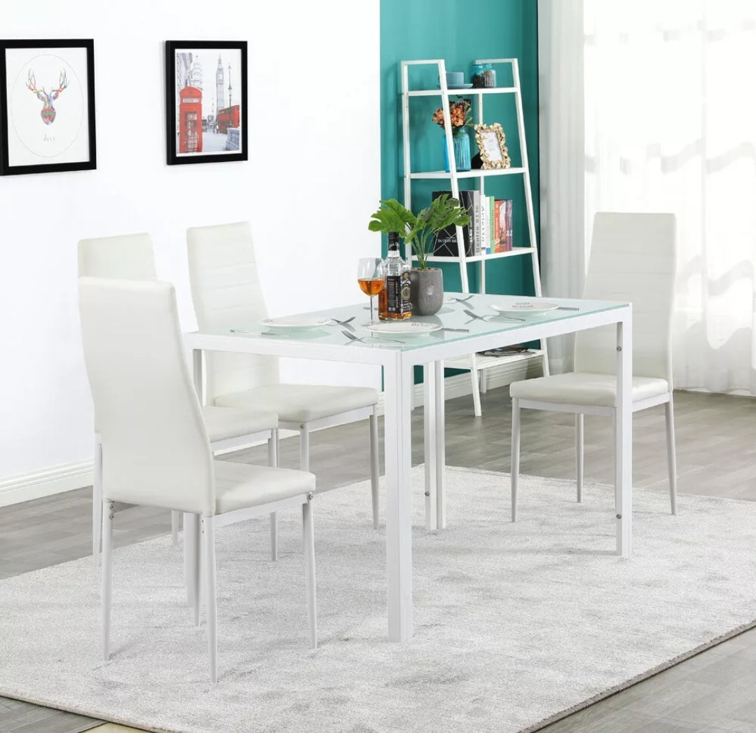 5pcs Dining Set Kitchen Table Set Dining Table And 4 Pu Leather Chairs Better Home Furniture
