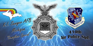 410th Air Police License Plate      (sky blue)