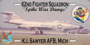 "62nd FIS Voodoo License Plate ""Spike War Dawgs"""