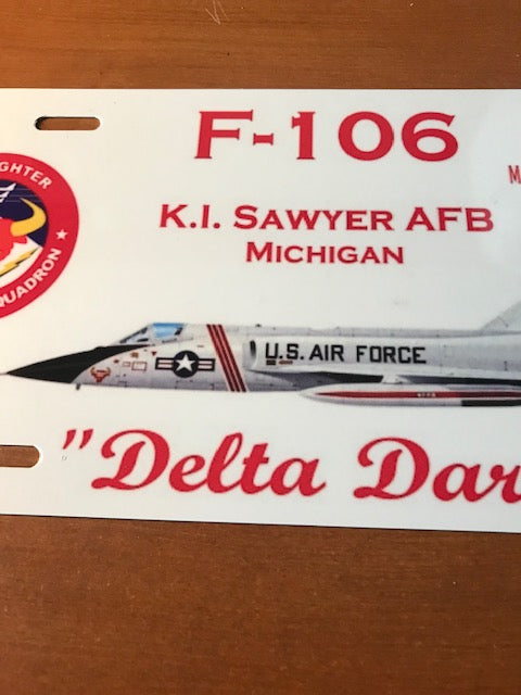 87th FIS F-106 Delta Dart License Plate (white)