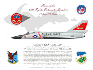 """Red Bull"" 87th Fighter Interceptor Squadron F-106 Lithograph"