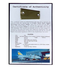 F-106A Cold War Piece of History Certified Plaque