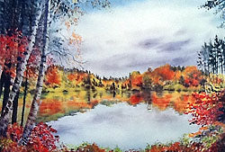 Base Lake - K.I. Sawyer Lake 16 x 20 Litho Print