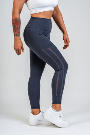 Luxe Side Mesh Leggings Navy