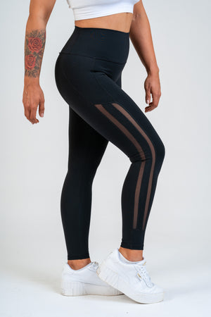 Luxe Side Mesh Leggings Black