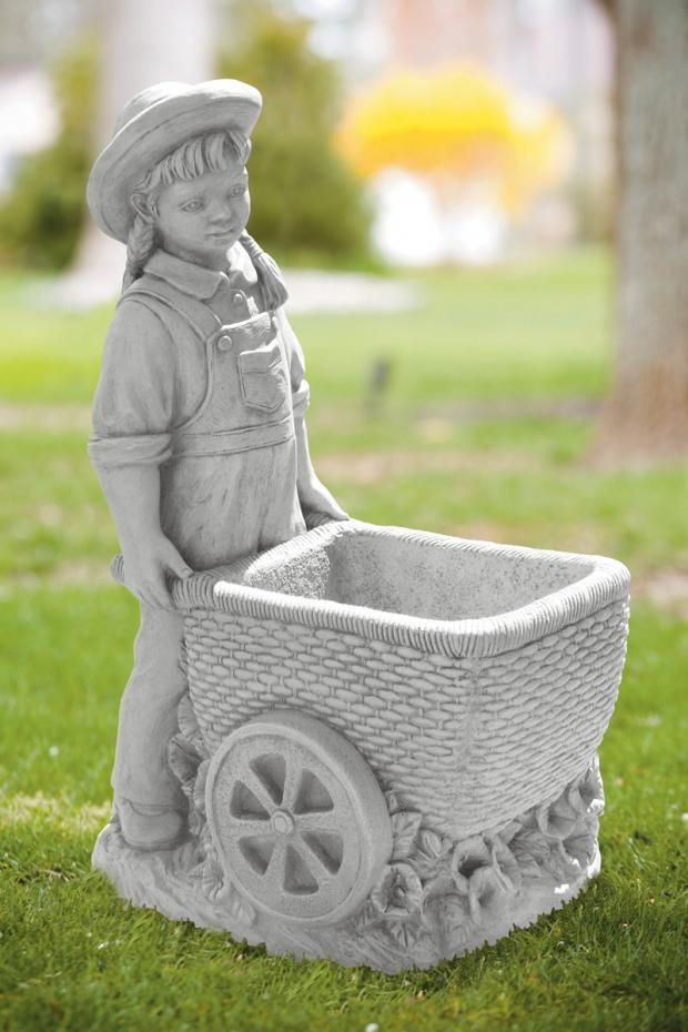"Girl with Flower Cart Planter 26""H"