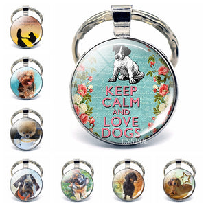 Keep Calm and Love Dog Pendant Glass