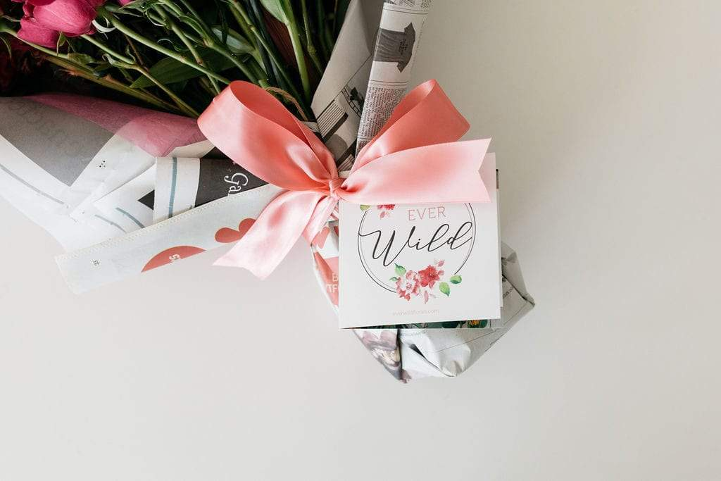 hand written note on flowers