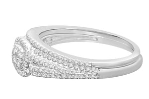 10K WHITE GOLD .52 CARAT WOMENS REAL DIAMOND ENGAGEMENT RING WEDDING BAND SET