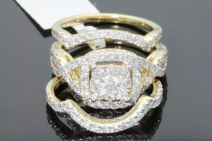 10K YELLOW GOLD 2 CARAT WOMEN DIAMOND ENGAGEMENT RING WEDDING BAND BRIDAL SET