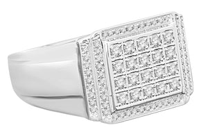10K WHITE GOLD .58 CARAT MENS REAL DIAMOND ENGAGEMENT WEDDING PINKY RING BAND