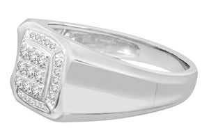 10K WHITE GOLD .41 CARAT MENS REAL DIAMOND ENGAGEMENT WEDDING PINKY RING BAND