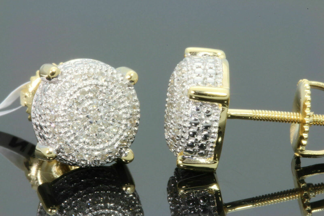 .23 CARAT STERLING SILVER YELLOW GOLD PLATED MENS WOMENS 8mm 100% REAL DIAMONDS EARRINGS STUDS
