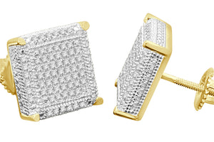 .55 CARAT STERLING SILVER YELLOW GOLD PLATED 12mm REAL DIAMONDS EARRINGS STUDS