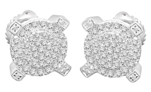 .56 CARAT STERLING SILVER RHODIUM MENS WOMENS 9mm 100% REAL DIAMONDS EARRINGS STUDS