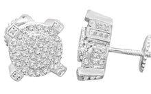 Load image into Gallery viewer, .56 CARAT STERLING SILVER RHODIUM MENS WOMENS 9mm 100% REAL DIAMONDS EARRINGS STUDS