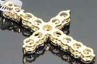 10K YELLOW GOLD .93 CARAT 1.5 INCH REAL DIAMOND MEN CROSS PENDANT CHARM CROSS