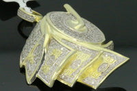 "1.73 CT DIAMONDS 2"" STERLING SILVER YELLOW DOLLAR BILL TOILET PAPER ROLL PENDANT"