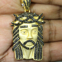 "1.59 CT BLACK DIAMOND 1.75"" STERLING SILVER YELLOW GOLD JESUS HEAD CROSS PENDANT"