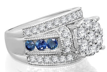 Load image into Gallery viewer, 10K WHITE GOLD 3.26 CARAT WOMEN DIAMOND SAPPHIRE ENGAGEMENT RING WEDDING BRIDAL