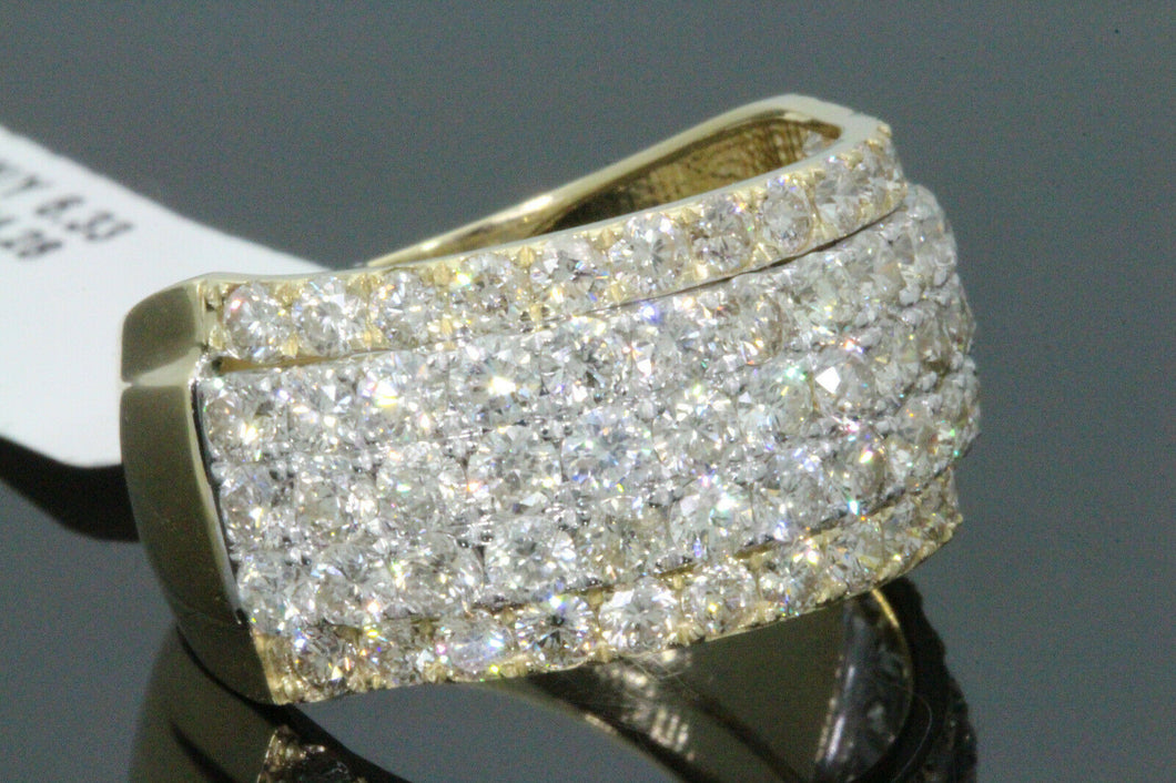10K YELLOW GOLD 4.04 CARAT MENS REAL DIAMOND ENGAGEMENT WEDDING PINKY RING BAND