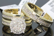 Load image into Gallery viewer, 10K YELLOW GOLD .90 CT MEN WOMEN DIAMOND TRIO ENGAGEMENT WEDDING RING BAND SET