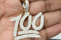 "10K SOLID YELLOW GOLD 2.83 CT REAL DIAMOND 1.75"" 100 PERCENT EMOJI PENDANT CHARM"