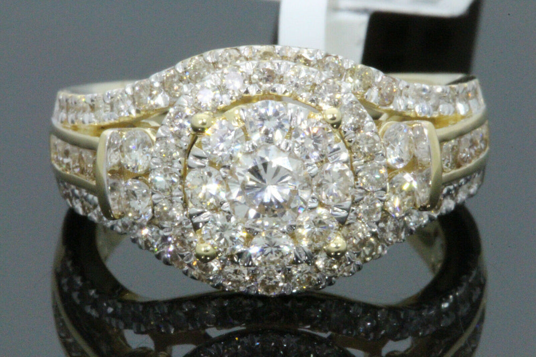 10K YELLOW GOLD 1.65 CARAT WOMEN REAL DIAMOND ENGAGEMENT RING WEDDING BRIDAL