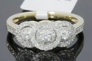 10K YELLOW GOLD .47 CARAT WOMENS REAL DIAMOND BRIDAL WEDDING ENGAGEMENT RING