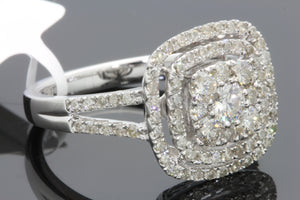 10K WHITE GOLD 1.09 CARAT WOMENS REAL DIAMOND BRIDAL WEDDING ENGAGEMENT RING