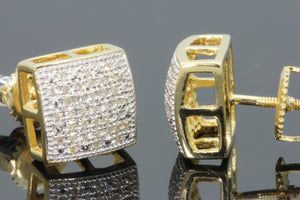 .19 CARAT REAL DIAMOND STERLING SILVER YELLOW GOLD FINISH MENS WOMENS 9mm EARRINGS STUDS
