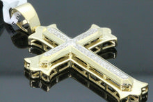 Load image into Gallery viewer, 10K YELLOW GOLD .28 CARAT 2 INCH REAL DIAMOND MEN CROSS PENDANT CHARM CROSS