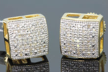 Load image into Gallery viewer, .19 CARAT REAL DIAMOND STERLING SILVER YELLOW GOLD FINISH MENS WOMENS 9mm EARRINGS STUDS
