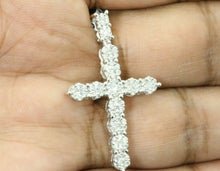 Load image into Gallery viewer, 10K WHITE GOLD .90 CARAT 1.5 INCH REAL DIAMOND MEN CROSS PENDANT CHARM CROSS