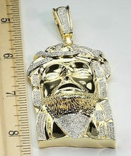 "Load image into Gallery viewer, 2.32 CT 3.5"" MENS YELLOW GOLD FINISH DIAMOND JESUS FACE HEAD CROSS CHARM PENDANT"