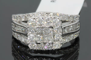10K WHITE GOLD 2.26 CARAT PRINCESS DIAMOND WOMEN BRIDAL WEDDING ENGAGEMENT RING