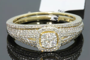 10K YELLOW GOLD .57 CARAT WOMENS REAL DIAMOND ENGAGEMENT RING WEDDING BAND SET