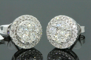 10K WHITE GOLD 1.13 CARAT MENS/WOMENS 10mm 100% GENUINE DIAMONDS EARRING STUDS