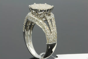 1.13 CT REAL GENUINE DIAMONDS WOMENS STERLING SILVER RHODIUM ENGAGEMENT WEDDING RING