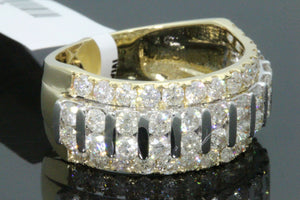 10K YELLOW GOLD 3.40 CARAT MENS REAL DIAMOND ENGAGEMENT WEDDING PINKY RING BAND