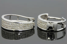 Load image into Gallery viewer, .43 CARAT REAL DIAMONDS STERLING SILVER RHODIUM PLATING HOOPS EARRINGS HUGGIE STUDS