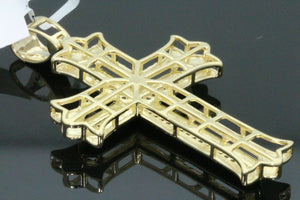 10K YELLOW GOLD .28 CARAT 2 INCH REAL DIAMOND MEN CROSS PENDANT CHARM CROSS
