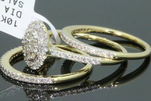 10K YELLOW GOLD 1.16 CT WOMENS REAL DIAMOND ENGAGEMENT RING 2 WEDDING BANDS SET