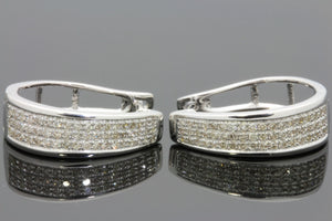 .43 CARAT REAL DIAMONDS STERLING SILVER RHODIUM PLATING HOOPS EARRINGS HUGGIE STUDS