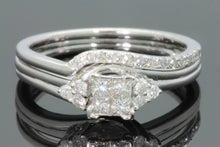 Load image into Gallery viewer, 10K WHITE GOLD .44 CARAT WOMEN DIAMOND ENGAGEMENT RING WEDDING BAND BRIDAL SET
