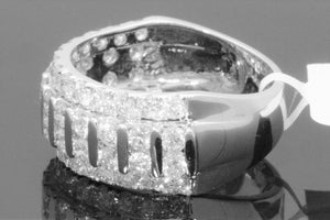10K WHITE GOLD 3.38 CARAT MENS REAL DIAMOND ENGAGEMENT WEDDING PINKY RING BAND