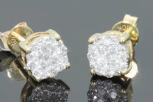 Load image into Gallery viewer, 10K YELLOW GOLD .46 CARAT MENS WOMENS 6 mm 100% GENUINE DIAMONDS EARRING STUDS